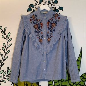 Zara Tops - Zara Victorian Embroidered Blouse